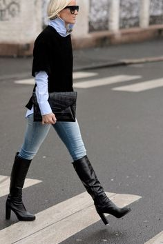 black knee boots with jeans and velvet top