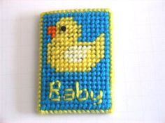Baby Ducky Gift Card Case Plastic Canvas by ShanaysCreation Plastic Canvas Christmas, Plastic Canvas Crafts, Plastic Canvas Patterns, Gift Cards Money, Money Holders, Card Holders, Baby Shower, Needlepoint, Baby Gifts