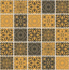 Patchwork Portugal 2 Cores - Fendi Escuro e Dourado - 20x20
