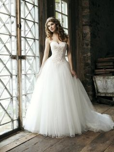 Tulle Lace Court Train Sweetheart A-line Wedding Dress(WD1238)