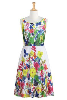 I <3 this Bold summer floral print dress from eShakti