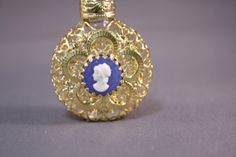 Bohemia Glass Perfume Bottle with gold filigree and blue cameo
