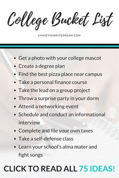 This college bucket list is full of 75 things students should do before graduation. Click through to see the entire list! Ideas fall into different categories: academics, campus life, financial aid, c College Bucket List, College List, College Courses, Education College, College Club, College Planning, College Room, College Hacks, Bucket Lists