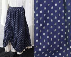 COUNTRY STYLE PALE BLUE FLORAL SKIRT WITH ATTACHED WHITE LACE TRIMED PETTICOAT