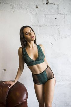 1f8b94c3dce Sexy lingerie retro lingerie set sheer lingerie green
