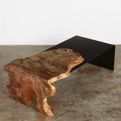 ebonized maple coffee table with steel #UrbanHardwoods #SalvagedWood