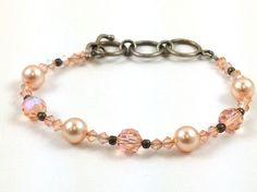 Peach Blush Pearls Swarovski Bracelet Crystals Sterling Sizeable Clasp Bracelet #Beaded