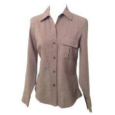 Perfect Business Grey Pinstripe Fitted Button Up. Price: $17 Size: S