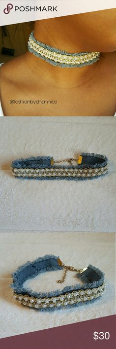 Denim mix choker Blue Denim mix choker with pearls, rhinestone, and gold trim. One of a kind so there is only one available. Fashion by Channice Jewelry Necklaces