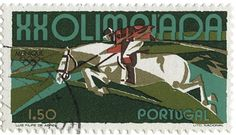 Vintage, XX Olympiad equestrian stamp. I'm so proud of the US showjumping team…