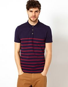 ASOS Polo With Bretton Stripe - Navy