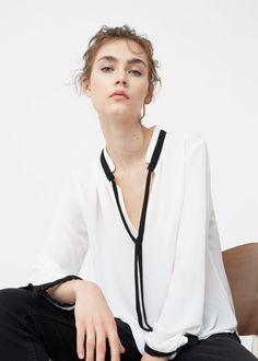 Blusa debruns contraste - Camisas de Mulher   MANGO Portugal