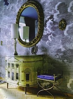Piero Fornasetti Clouds Wallpaper with Palladian chest of drawers Cole & Son Nuvolette Fornasetti clouds wallpaper