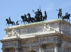 The Arch of Peace was originally designed by Luigi Cagnola to celebrate Napoleon's entrance into the city. After the defeat of Napoleon, work was interrupted and the designs were changed. In 1831, the Arch of Peace was inaugurated by Franz I of Austria and was dedicated to the European Peace reached in 1815.  Milan, Italy.