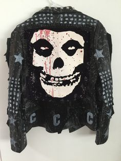 The Misfits punk rock jacket from Chad Cherry Clothing. Studded jacket. Distressed rocker jackets.