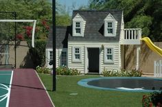 can I play? In ground trampoline. Tennis, Basketball, Playhouse, Volleyball. Kids play paradise!