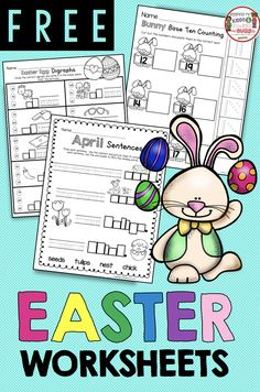 FREE Pack of Easter Worksheets - Fun spring printables for your kindergarten or first grade classroom - writing spring sentences - teen numbers and math - phonics and digraphs FREEBIES Easter Worksheets, Free Kindergarten Worksheets, 1st Grade Worksheets, Kindergarten Lessons, Kindergarten Reading, Kindergarten Classroom, Preschool Activities, Classroom Ideas, Subtraction Kindergarten