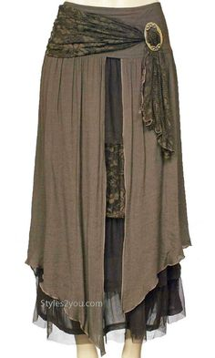 Pretty Angel Clothing Antique Belted Skirt In Coffee *27114CF