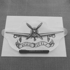 born to fly plane tattoo design with ribbon by swannlpx Grey Tattoo, I Tattoo, Cool Tattoos, Aviation Tattoo, Pilot Tattoo, Outer Forearm Tattoo, Airplane Tattoos, Flying Tattoo, Fly Plane