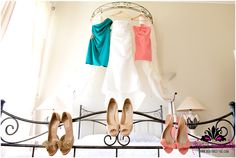 wedding dress, jimmy choo shoes