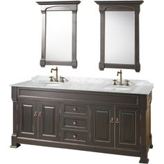 "A new edition to the Wyndham Collection, the beautiful Andover 72"" Bathroom Vanity Black Finish http://www.listvanities.com/wyndham-collection-contemporary-bathroom-vanities.html series represents an updated take on traditional styling. The Andover is a keystone piece, with strong, classic lines and an attention to detail. The vanity and solid marble countertop are hand carved and stained. Available in Black and Dark Cherry finishes to match any decor"