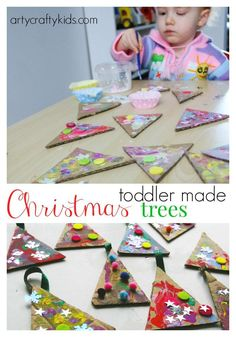 Christmas Crafts – Arty Crafty Kids – Craft – Craft Ideas for Kids – Toddler Christmas Trees Kids Crafts, Christmas Crafts For Toddlers, Preschool Christmas, Toddler Crafts, Winter Christmas, Christmas Themes, Kids Christmas, Holiday Crafts, Holiday Fun