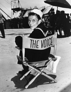 "Frank Sinatra on the set of ""Anchors Aweigh."""