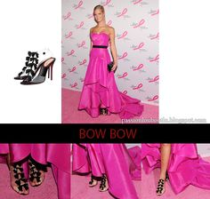"Erin Heatherton looking gorgeous in her pink Michael Kors gown and Christian Louboutin ""Bow Bow"" Sandals."