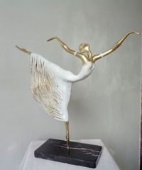 by Liubka Kirilova titled: 'Ballet-Dancer (Small Romantic Ballerina statuette)'. Ceramic Sculpture Figurative, Abstract Sculpture, Paper Mache Sculpture, Sculpture Art, Wire Sculptures, Ballerina, Art Du Fil, Paperclay, Dance Art