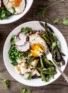 Seasonal vegetables and quinoa topped with a light ginger-miso dressing - the perfect spring dinner!