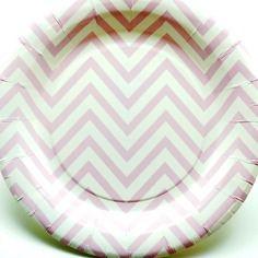 Lot de 12 assiettes papier chevrons rose pastel et blancs diam. 18 cm