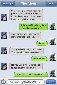 Texts From Superheroes - The Atom and Batman Marvel Jokes, Marvel Funny, Marvel Dc Comics, Funny Comics, Superhero Texts, Comic Text, Dc Memes, Funny Text Messages, Detective Comics