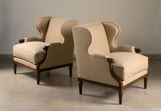 Pair of wing chairs, circa. 1930, by Jean-Michel Frank