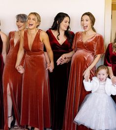 Luxe Velvet bridesmaids dresses by Jenny Yoo! These stunning gowns in this rustic shade called English Rose is the perfect autumn / fall bridal party look. Dresses shown: Malia, Logan and Marin.