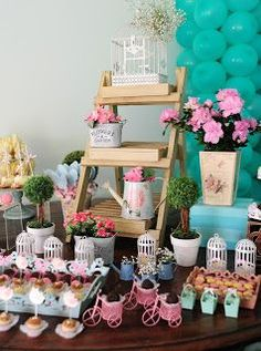 Baby Shower Ides For Girls Themes Butterfly Candy Bars Ideas Garden Birthday, Baby Birthday, Birthday Parties, Bird Party, Butterfly Party, Party Decoration, Birthday Decorations, Deco Pastel, Girls Tea Party