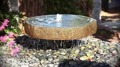 Natural Millstone Fountain by Mike Zimber. Carved from green/gray granite boulders, each is unique. Expect variations in size, shape and color. Modern Fountain, Rock Fountain, Diy Fountain, Stone Water Features, Water Features In The Garden, Stone Fountains, Garden Fountains, Garden Ponds, Water Fountains