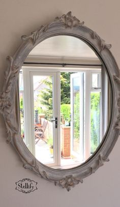 Annie Sloan chalk paint mirror in French grey & old white with antique gold…