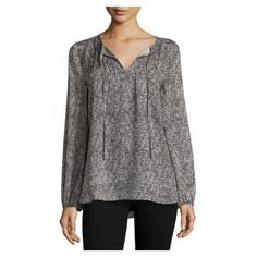 Neiman Marcus Printed Pintucked Peasant-Sleeve Blouse, Black Multi (5,085 INR) ❤ liked on Polyvore featuring tops, blouses, long blouse, pintuck blouse, long sleeve tops, long side slit top and relaxed fit tops
