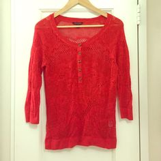 Red AE sweater p 100% cotton red 3/4 sleeve sweater. Great condition. American Eagle Outfitters Sweaters