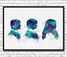 Harry Potter Ron Hermione 3 Watercolor Print Blue by ArtsPrint