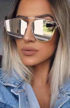 The Verzy Sunglasses Silver. Head online and shop this season's latest styles at White Fox. Reflective Sunglasses, White Sunglasses, Luxury Sunglasses, Mirrored Sunglasses, Sunglasses Women, Brown To Blonde Balayage, Eyeglasses For Women, Glamour, Star Fashion