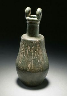 Bronze situla representing Isis and Nephthys. Late Period. 712-332 B.C. | Los Angeles County Museum of Art