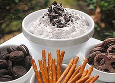 Dreamy Cookies and Cream Dip for Cookies, pretzels, and fruit!