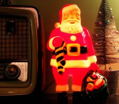 Blow Mold Santa with stocking and toy bag