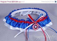 MONTH END SALE Captain America Wedding Garter by sugarplumgarters, $28.79