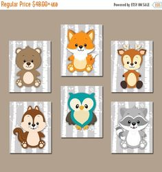 WOODLAND Nursery Wall Art Baby Animals Canvas or by TRMdesign