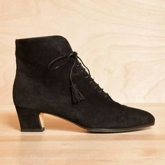 Vintage 1980s Ferragamo black suede leather lace up granny boots. Size 5.5 - 6. $109.00