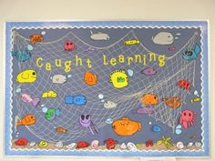"""""""Caught Learning"""" bulletin board.  Elementary school's growing on me--think I'll actually try to make my office 'even more' kid-friendly.  :-)"""