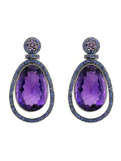 Amethyst (February) & Sapphire (September) - my & my husband's birthstones in beautiful earrings!