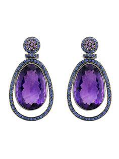 Hemmerle. Amethyst & sapphire earrings...♡